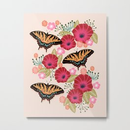 Swallowtail Florals by Andrea Lauren  Metal Print