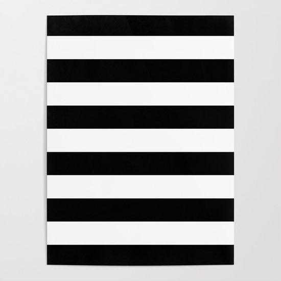 Stripe Black And White Horizontal Line Bold Minimalism by beautifulhomes