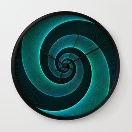 Magical Teal Green Spiral Design Wall Clock
