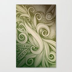 Tangled curves, olive Canvas Print