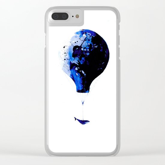 Blue journey #whale #balloon #travel #blue Clear iPhone Case
