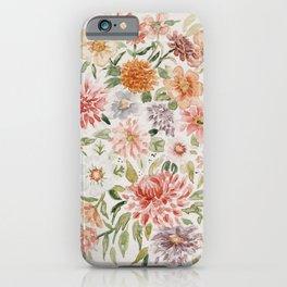 Loose Pastel Dahlia Watercolor Bouquet iPhone Case