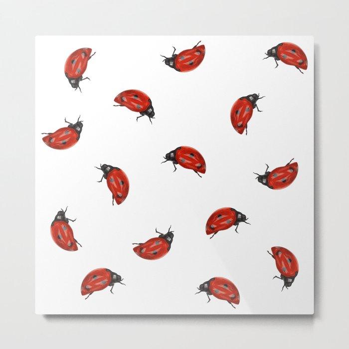 Ladybug Pattern Metal Print