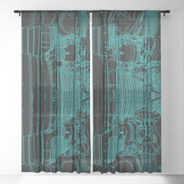 Apollo Rocket Booster - Green Neon Sheer Curtain