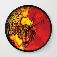 lion king Wall Clocks featuring Lion King by RICHMOND ART STUDIO