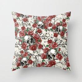 Skulls and Roses or Les Fleurs du Mal Throw Pillow