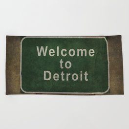 Welcome to Detroit highway road side sign Beach Towel