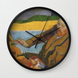 Vincent van Gogh painting sunflowers by Paul Gauguin Wall Clock