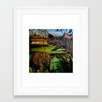 dinosaurs Framed Art Prints featuring DINOSAURS by shannon's art space