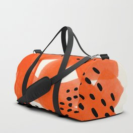 Fun Abstract Minimalist Mid Century Modern Orange Watercolor Ribbons With Black Ink Patterns Duffle Bag