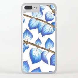 Breezy Blue Leaves Clear iPhone Case
