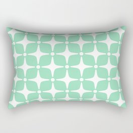 Mid Century Modern Star Pattern Mint Green 2 Rectangular Pillow