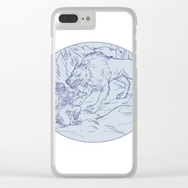 Fenrir Attacking Norse God Odin Drawing Color Clear iPhone Case