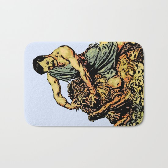 Ron Swanson Slaying A Lion  |  Parks and Recreation Bath Mat