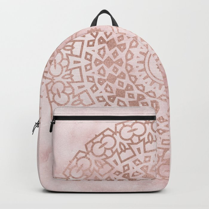 Misty pink marble rose gold mandala Backpack
