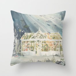 Underwater Greenhouse Throw Pillow