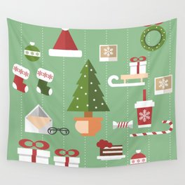 Christmas objects drawings on green bacgkround Wall Tapestry