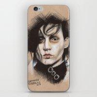 edward scissorhands iPhone & iPod Skins featuring Edward Scissorhands by Stephanie Nuzzolilo