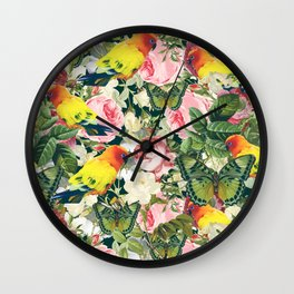 Parrots in rose garden Wall Clock