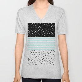 Modern black white teal stripes watercolor polka dots Unisex V-Neck
