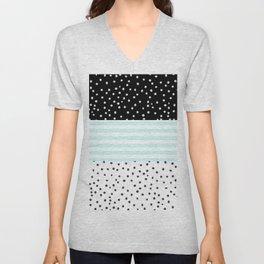 Modern black white teal stripes watercolor polka dots Unisex V-Neck