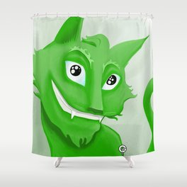 Kyrai - the green cat Shower Curtain