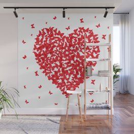 Heart - summer card design, red butterfly on white background Wall Mural