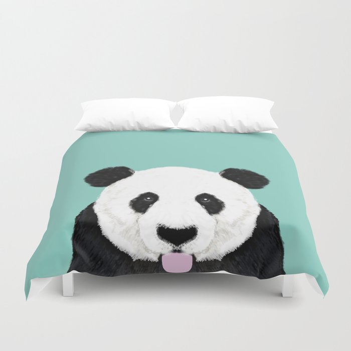 Panda - mint - cute black and white animal portrait,  design, illustration, animal cell phone, case, Duvet Cover