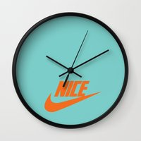 nike Wall Clocks featuring Nike Nice by Tony Vazquez