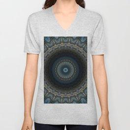 Detailed mandala in grey and blue tones Unisex V-Neck