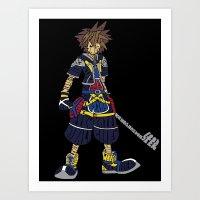 kingdom hearts Art Prints featuring Kingdom Hearts: Sora by NeleVdM