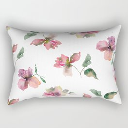 Watercolor roses. Delicate pink flowers. Rectangular Pillow