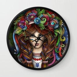 beautiful girl flower hair Wall Clock