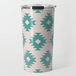 Southwestern Pattern 435 Beige and Turquoise Travel Mug