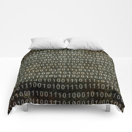 The Binary Code - Distressed textured version Comforters