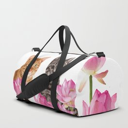Red and Tiger cat in Lotos Flower Field Duffle Bag