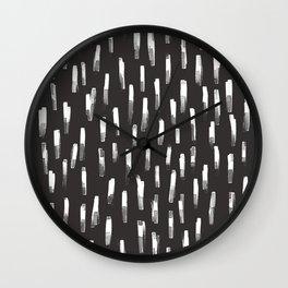 watercolor stripes-charcoal Wall Clock