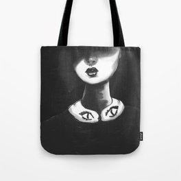 Contemporary Black and White Collar Tote Bag