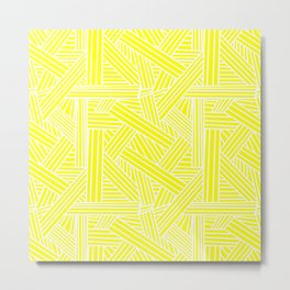 Sketchy Abstract (White & Yellow Pattern) Metal Print
