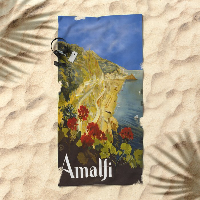Vintage Amalfi Italy Travel Beach Towel