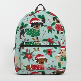 Dachshund christmas sweater poinsettia cute holiday gifts doxie dachsie dog breed Backpack