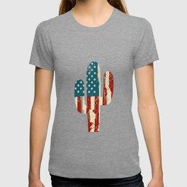 AMERICA PATRIOTIC 4TH OF JULY graphicS CACTUS AMERICAN FLAG design T-shirt