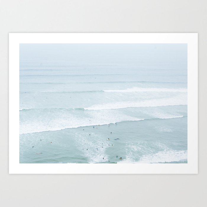 Tiny Surfers from the Sky, Lima, Peru Art Print