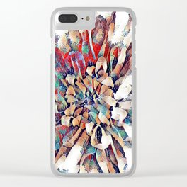 Japanese Inspired Lily Design Sketch Clear iPhone Case