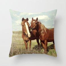 Horse Affection Throw Pillow