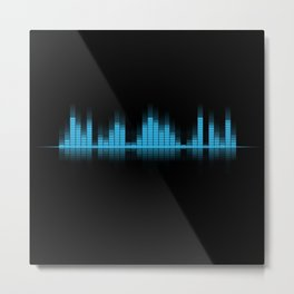 Cool Blue Graphic Equalizer Music on black Metal Print