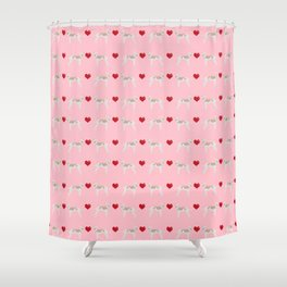 Italian greyhound love hearts valentine dog breed gifts Shower Curtain