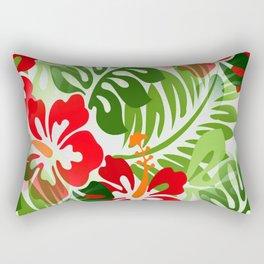 Hawaiian Flowered Shirt Pattern Red Green Rectangular Pillow