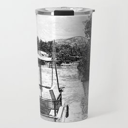 Boats and river in black and white Travel Mug
