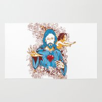 jesus Area & Throw Rugs featuring Jesus  by Tshirt-Factory